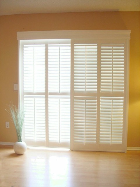 Sliding Glass Doors Interior Shutters Other Metro By Exceptions Blinds And Shutters