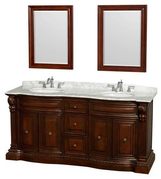 Wyndham roxbury 72 inch double bathroom vanity for Bathroom 72 inch vanity