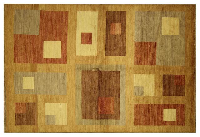 Hand Knottedmodern Bronze Earth Tone Gabbeh Lori Buft Wool Area Rug H6307 Contemporary Area