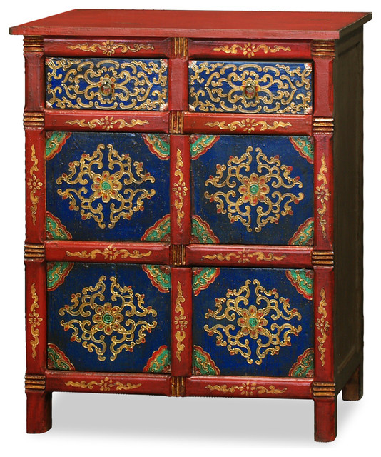 Hand painted tibetan chest asian accent chests and for Hand painted oriental furniture