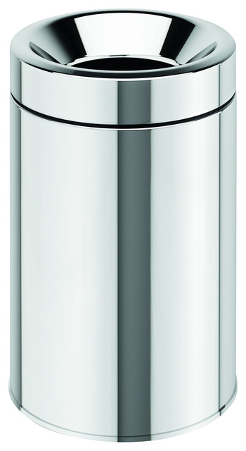 Round Open Top Stainless Steel Wastebasket Can Without Lid Small 3l Contemporary