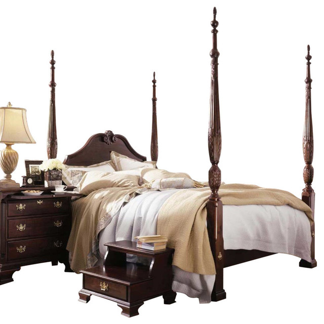 Kincaid Carriage House Solid Wood Queen Carved Panel Rice Poster Bed Traditional Furniture