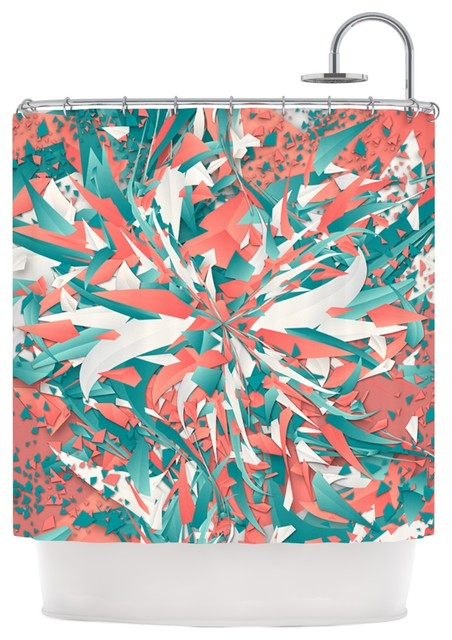 Danny Ivan Like Explosion Pink Teal Shower Curtain Contemporary