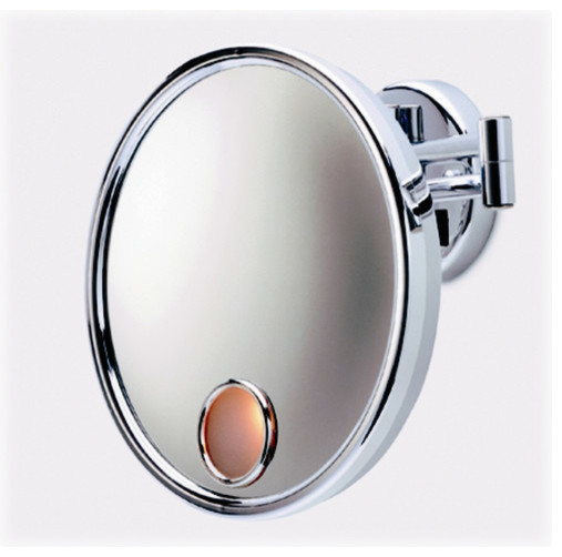 Lighted X Magnifying Wall Mount Mirror In Chrome Modern Makeup