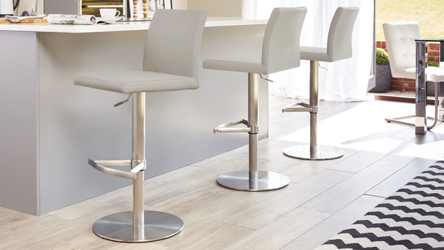Cool Grey Elise Stainless Steel Gas Lift Bar Stool