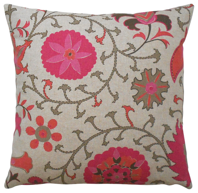Red And Tan Decorative Pillows : Suzani Floral Decorative Pillow Cover, Coral, Red, Orange, Brown and Tan - Mediterranean ...