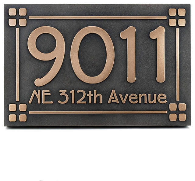 lighted house numbers mission style