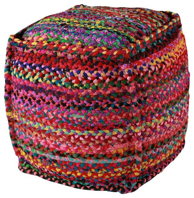 Brilliant Multi Colored Fabric Pouf - Contemporary - Floor Pillows And Poufs - by Bitterroot Bit ...
