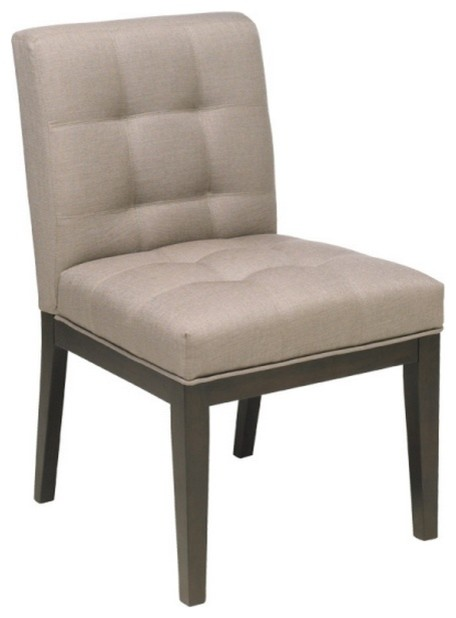 Tufted low back parsons chair linen contemporary for Modern low back dining chairs