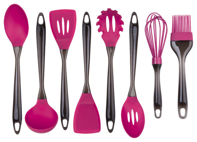 Eight piece silicone utensil set fushia contemporain for Ustensile de cuisson
