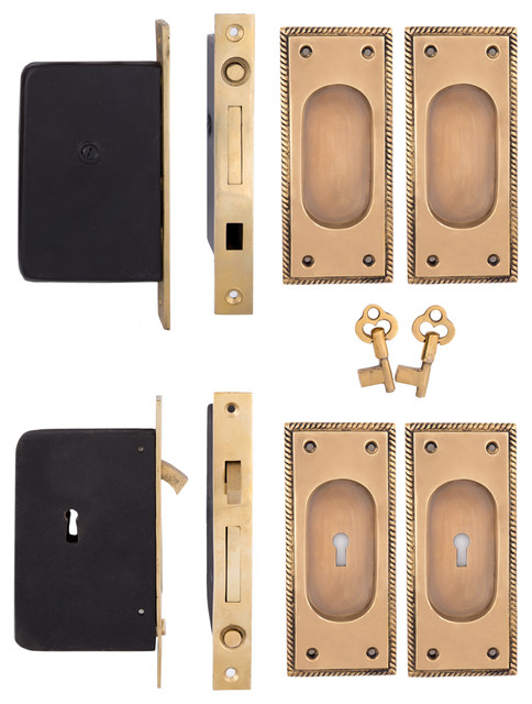 Rope Keyed Double Pocket Door Set, Hand Antiqued Brass - Traditional - Pocket Door Hardware - by ...