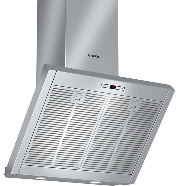 Bosch chimney cooker hood brushed steel contemporain for Ventilation hotte cuisine