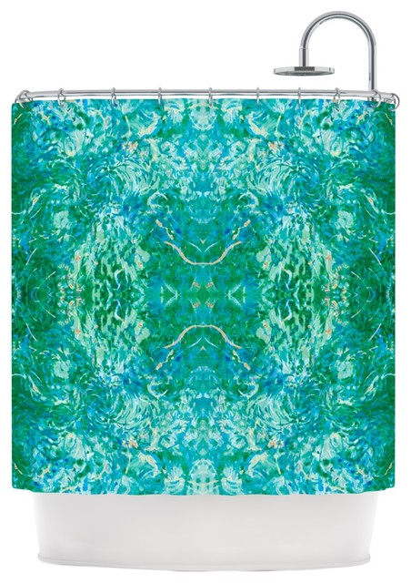 Nikposium Eden Teal Green Shower Curtain Contemporary Shower Curtains By Kess Global Inc