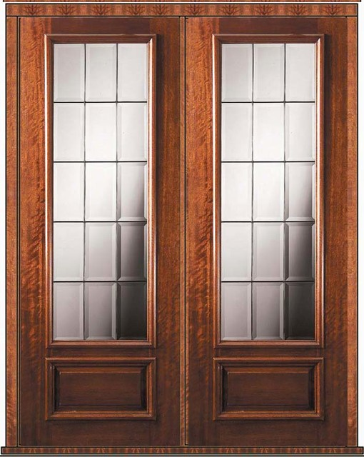 Pre hung french double door 96 wood mahogany french 3 4 for Double hung french patio doors