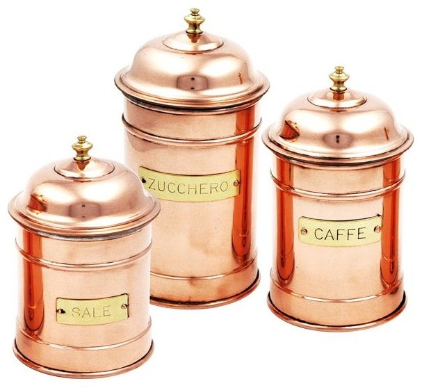 copper cans set of 3 rustic kitchen canisters and