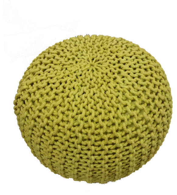Handmade Knitted Pouf, Lemon Grass modern-floor-pillows-and-poufs