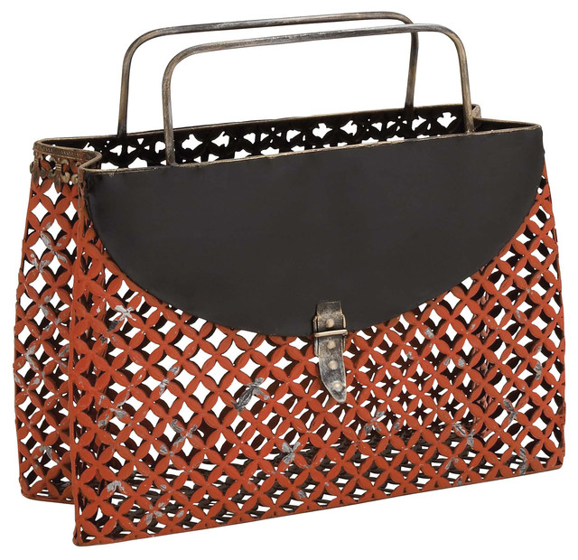 Trendy metal purse shaped magazine holder transitional for Trendy magazine rack