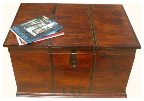 Iron work wood storage trunk box coffee sofa table - Decorative trunks and boxes ...