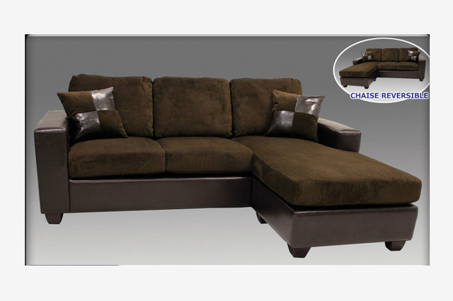 Modern chocolate microfiber leather sectional sofa for Brown microfiber sectional with chaise