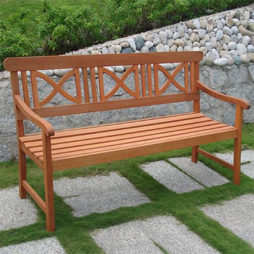Decorative Eucalyptus Bench Natural Contemporary Outdoor Benches