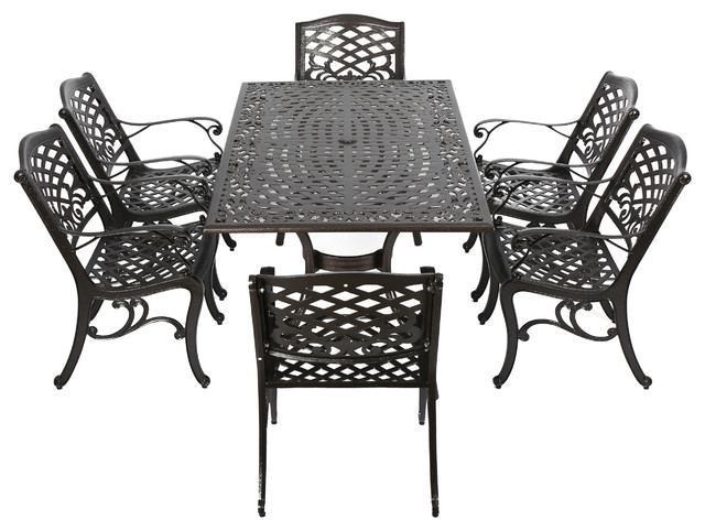 Odena Outdoor Cast Aluminum Rectangle Bronze Dining 7 Piece Set Traditional