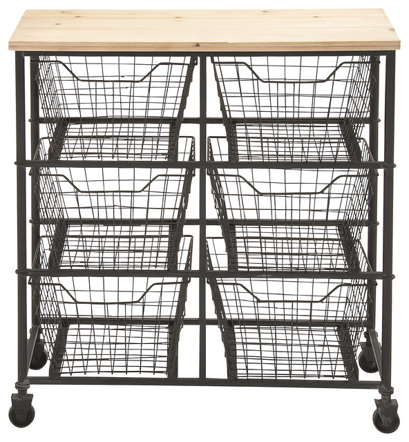 Metal and Wood Storage Cart Transitional Kitchen