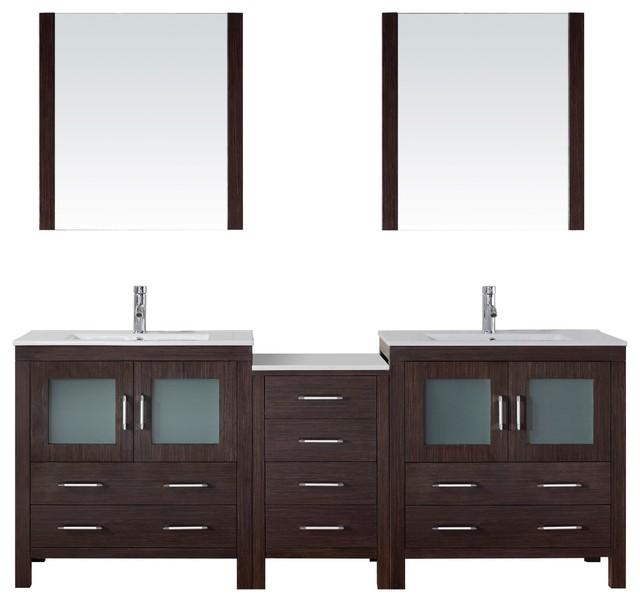 Dior  Double Vanity Espresso Ceramic Modern Bathroom Vanities And