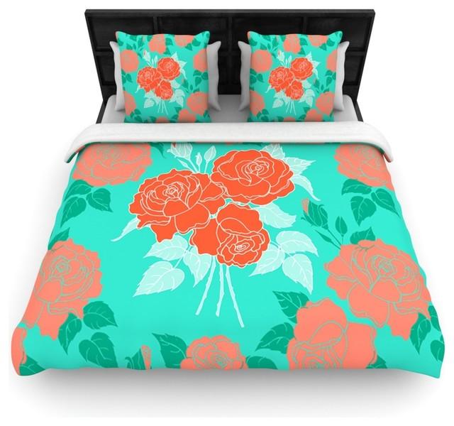 "Anneline Sophia ""Summer Rose Orange"" Teal Green Cotton"