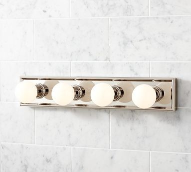 Bathroom Vanity Lights Traditional : Mercer Vanity 4-Bulb Light Panel, Polished Nickel finish - Traditional - Bathroom Vanity ...