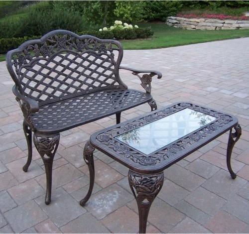 Oakland Living Tea Rose Cast Aluminum 2pc Loveseat Set In Antique Bronze Finish