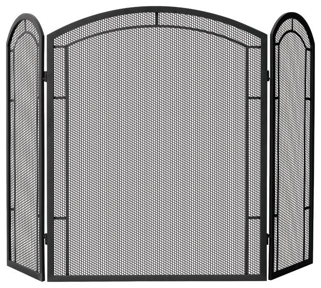 3 fold wrought iron screen transitional fireplace screens by blue rhino uniflame - Houzz fireplace screens ...