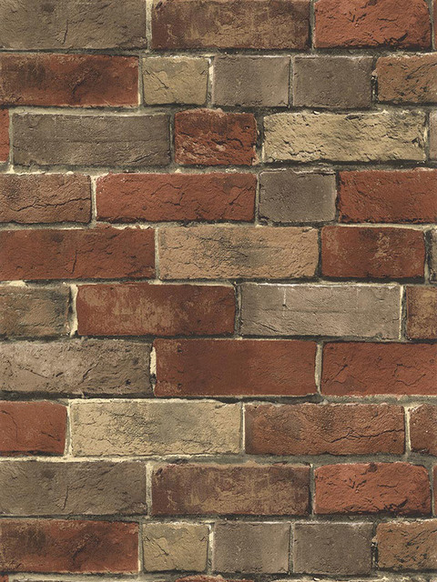 Bg21584 rust tan grey brick wallpaper sample industrial for Grey brick wallpaper bedroom