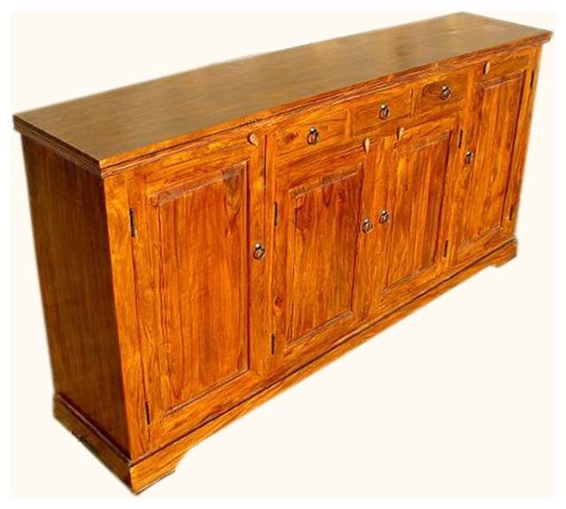 Santa Cruz Large Rustic Sideboard 4-Door 3-Drawer Server ...