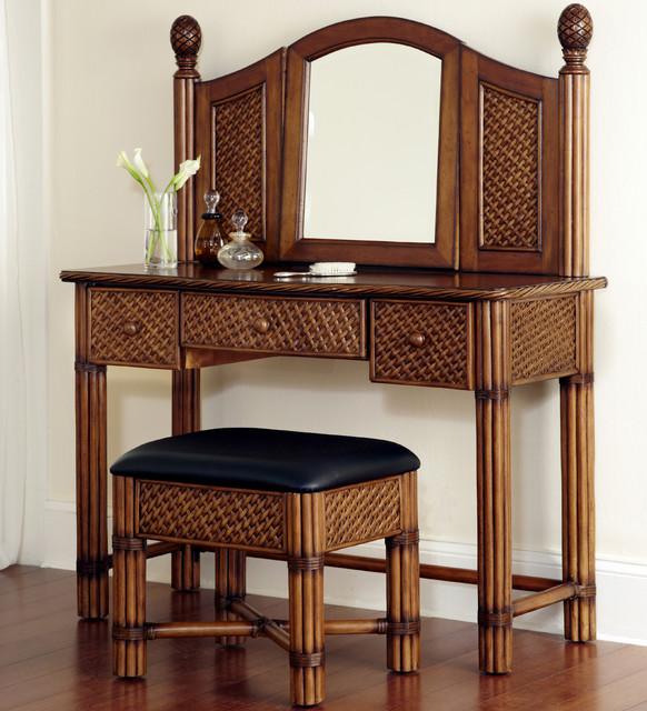 marco island refined cinnamon vanity and bench