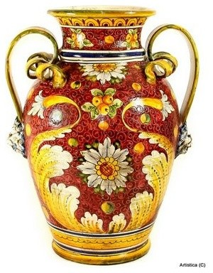 Majolica rubino large vase urn with two handles mediterranean vases by artistica italian - Large decorative vases and urns ...
