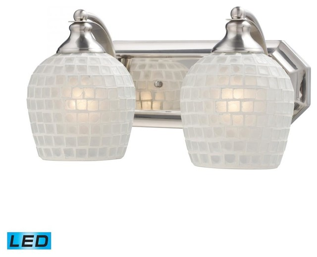 Tropical Bathroom Vanity Lights : Two Light Satin Nickel White Mosaic Glass Vanity - Tropical - Bathroom Vanity Lighting - by We ...