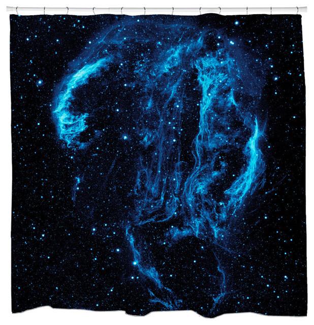 Cygnus loop nebula shower curtain contemporary shower for Nebula fabric uk