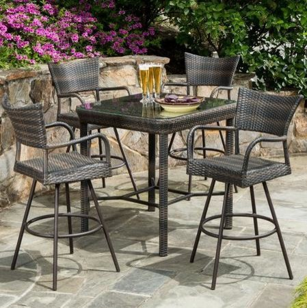 person all weather wicker bar height dining set modern dining table