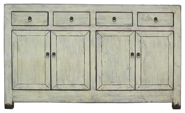 Chinese Rustic Off White Sideboard Buffet Console Table