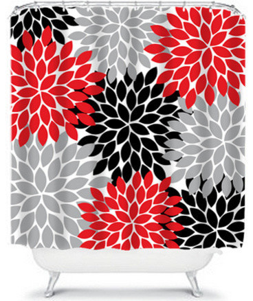 Floral Shower Curtain Home Bathroom Decor Red Black Gray Flower Burst 71 Quo