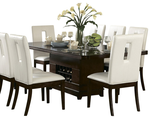 piece pedestal dining room set in brown cherry traditional dining