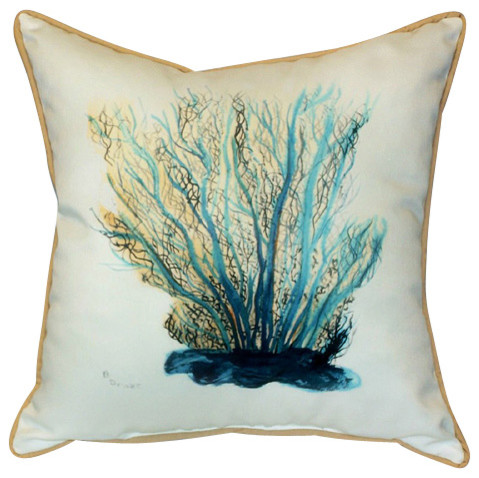 Beach Style Outdoor Cushions : Betsy Drake Coral Indoor/Outdoor Pillow, Blue - Beach Style - Outdoor Cushions And Pillows - by ...
