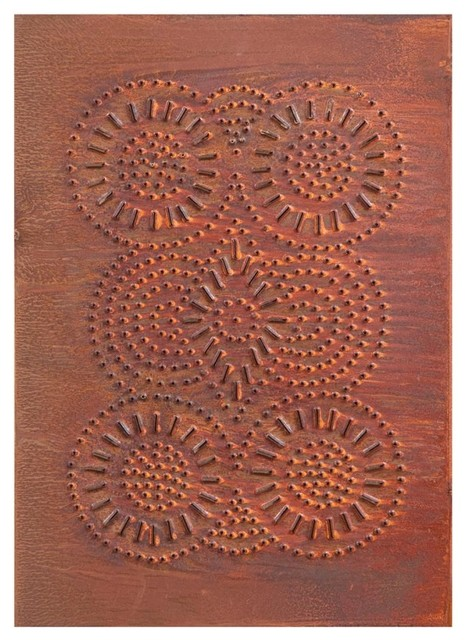 Four Handcrafted Punched Tin Cabinet Panels Sturbridge Geometric, Rustic Tin - Farmhouse ...