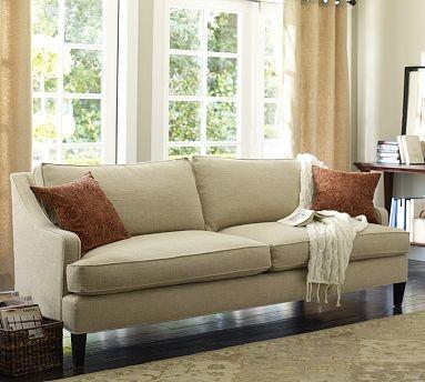Landon Upholstered Sofa Down Blend Wrap Cushions Linen