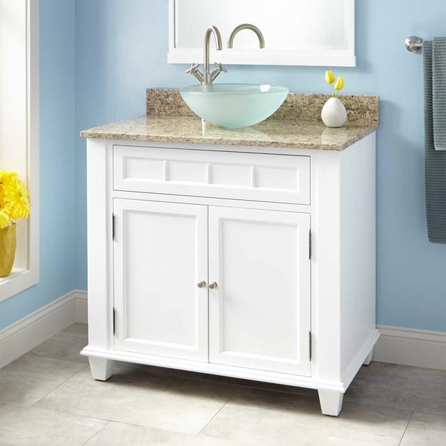 "White Transitional Bathroom Vanities: 36"" Broden Vessel Sink Vanity"