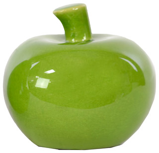 Smooth Ceramic Apple Green Contemporary Decorative Objects And