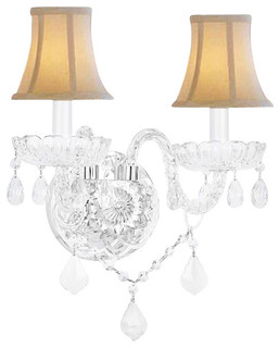 Traditional Wall Lamp Shades : Murano Venetian Style Crystal Ball Sconce With White Shades - Traditional - Wall Sconces - by ...