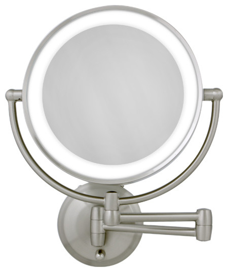 10x 1x Satin Nickel Round Led Lighted Wall Mirror Modern