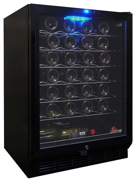 Vinotemp 58 bottle black wine cooler black modern for Beer and wine cooler table