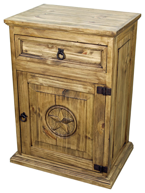 Rustic Wood Nightstand With Texas Star Rustic
